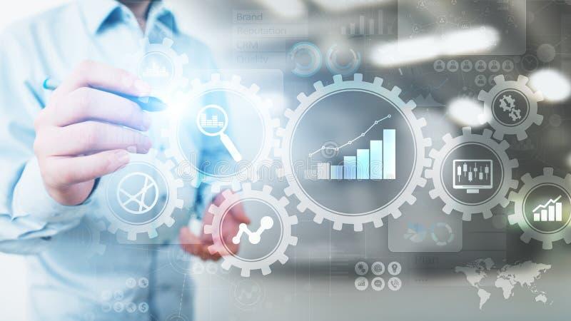 大数据分析,商业运作与齿轮的逻辑分析方法在虚屏上的图和象 向量例证