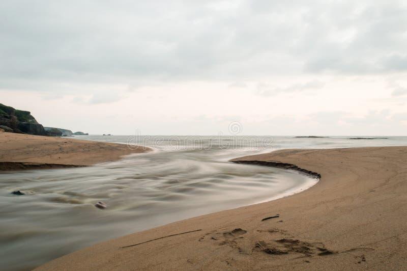 大西洋顶视图 在前景,射流到海里 库存图片