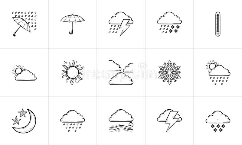 天气预报手拉的概述乱画象集合 皇族释放例证