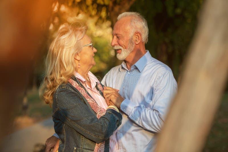 夫妇愉快的爱前辈 户外公园 免版税库存图片