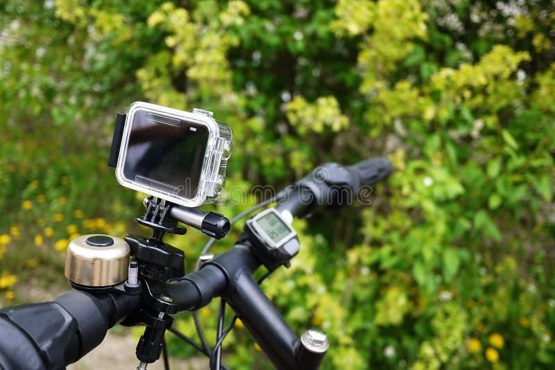 夺取您的录影的行动照相机 适用于汽车旅行,体育,潜水, 库存照片