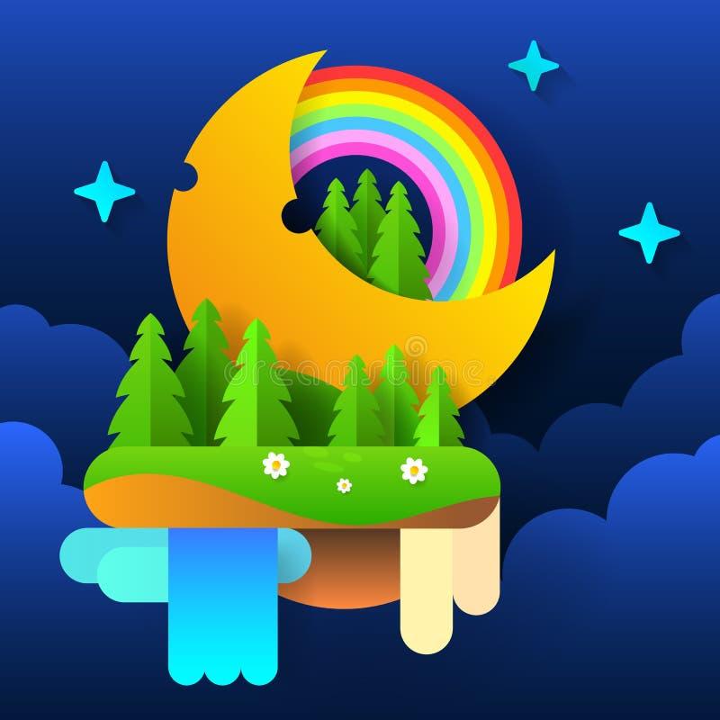 夜神仙的森林 在天空的月亮与彩虹和星 向量 向量例证