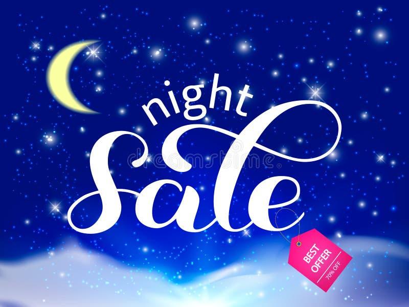 夜销售字法 与月亮的天空,星 也corel凹道例证向量 向量例证