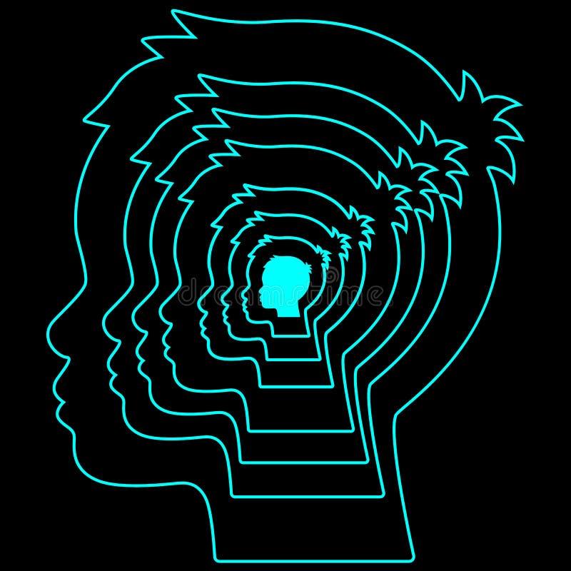 多层的人头 心理学,人为和宇宙头脑,精神健康的构想 查出的向量例证 皇族释放例证
