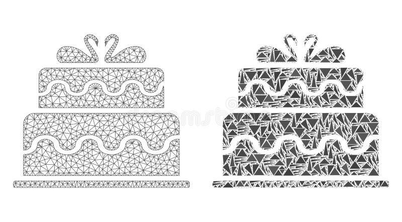 多角形导线框架滤网婚姻蛋糕和马赛克象 向量例证