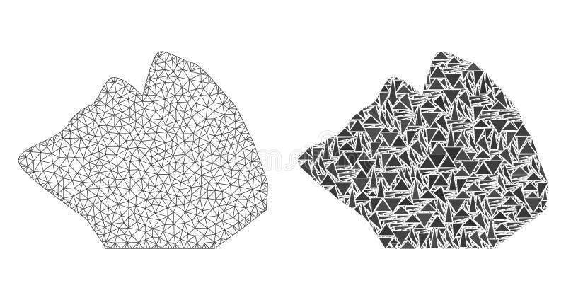 多角形导线框架滤网岩石石头和马赛克象 库存例证