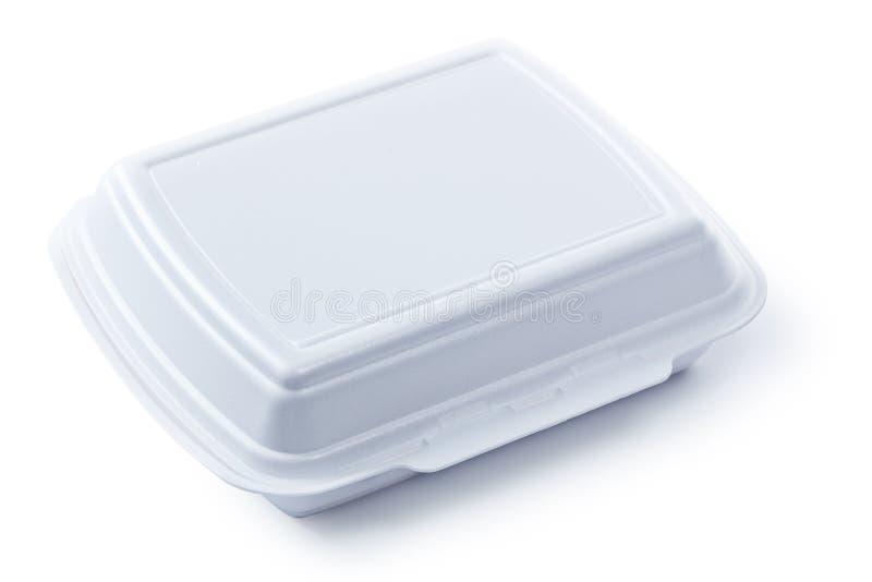 多苯乙烯在白色隔绝的外卖食品箱子 库存图片