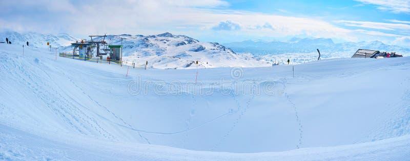 多雪的Krippenstein登上的全景,上特劳恩,Salzkammegut,奥地利 库存图片