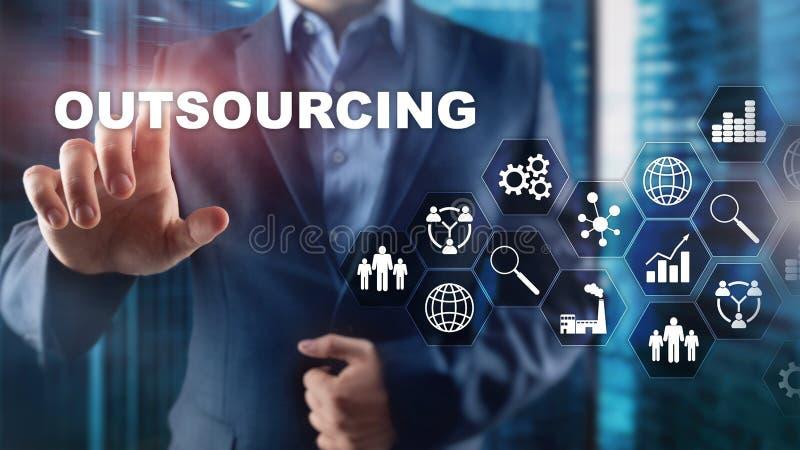 外包的人力资源 全球企业产业概念 自由职业者外包国际合作 免版税库存照片