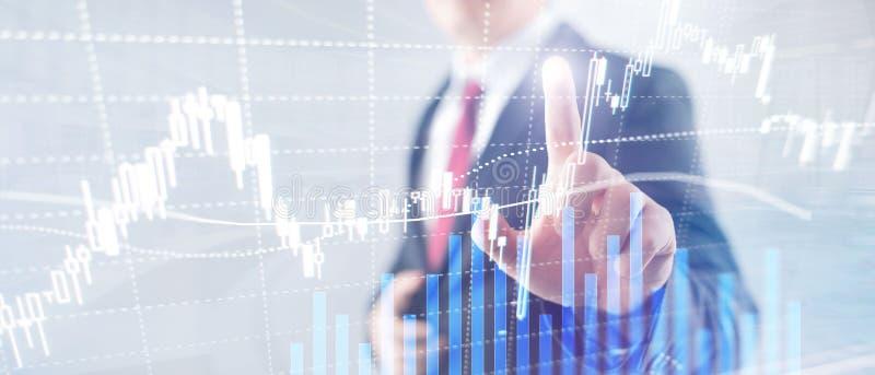 外汇贸易,金融市场,在商业中心背景的投资概念 免版税库存照片