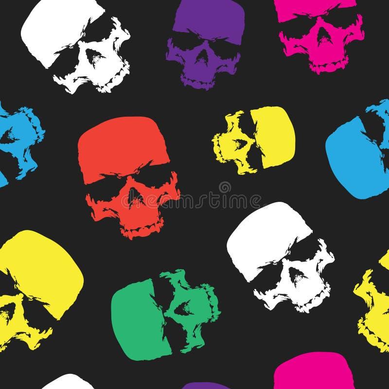 头骨无缝的样式背景,颜色头骨纺织品的,包装纸和打印产品难看的东西设计 皇族释放例证
