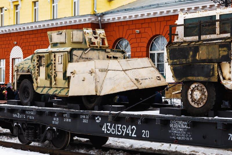 奥廖尔州,俄罗斯- 2019年2月25日:军事战利品技术 图库摄影