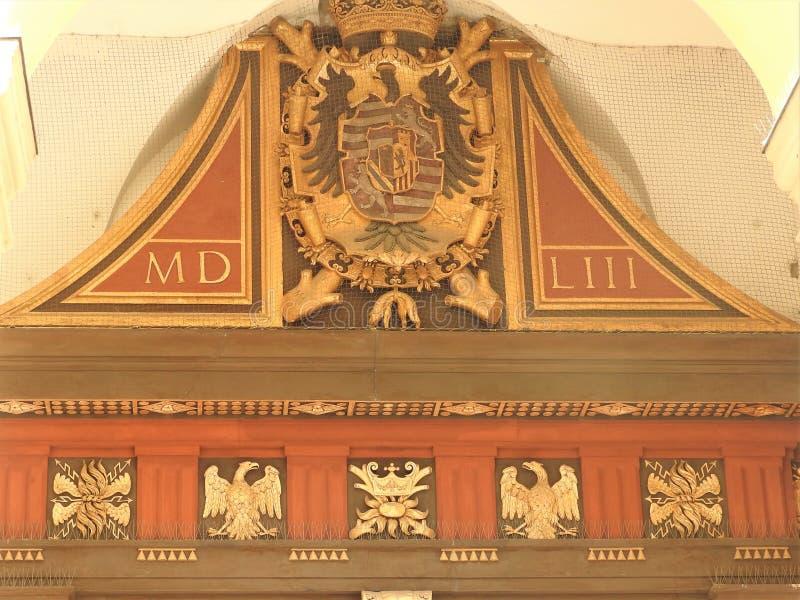 奥地利,维也纳,大厦石墙精妙的建筑学  库存图片