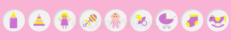 女婴阵雨卡片 其女孩 瓶,马,吵闹声,安慰者,袜子,玩偶,婴儿车金字塔玩具 圆的象集合线 向量例证