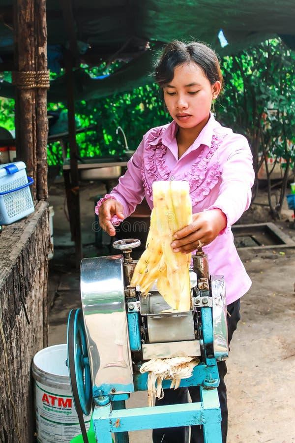 女孩从甘蔗紧压汁液 库存照片