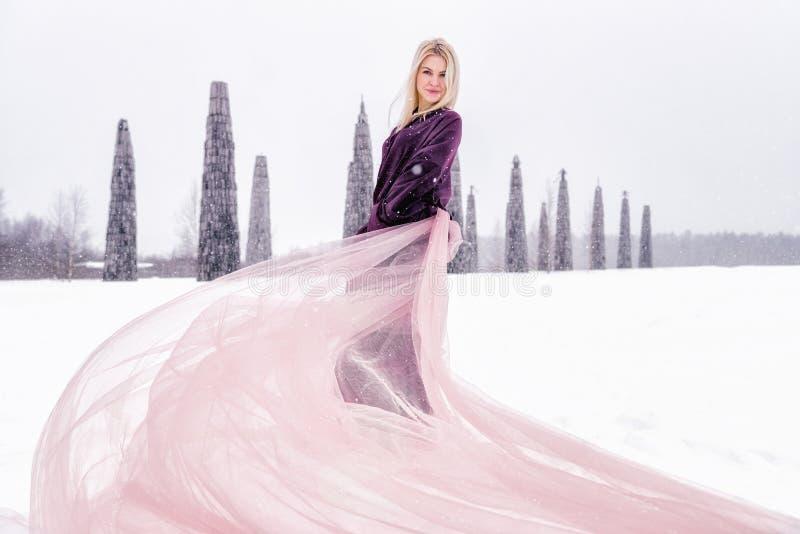 女孩在一个领域站立在冬天 火车礼服开发风 免版税库存照片