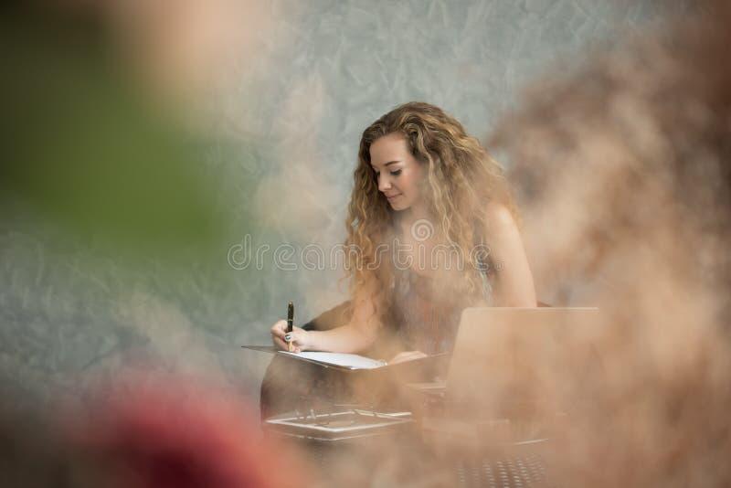 女实业家文件签署的年轻人 库存照片