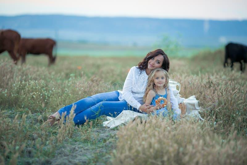 女儿愉快的妈妈 野餐在绿色公园 免版税库存图片