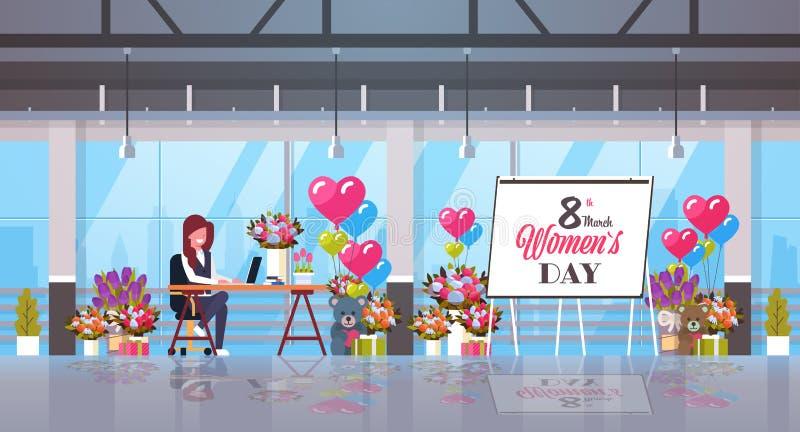 女商人坐的工作场所与礼物和花愉快的妇女的8行军庆祝概念的天假日现代 库存例证