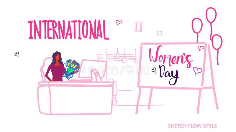女商人坐的工作场所与花国际愉快的妇女的8行军庆祝概念的天假日现代 库存例证