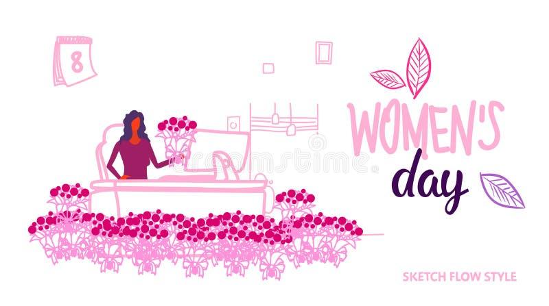 女商人坐的工作场所与花国际愉快的妇女的8行军庆祝概念的天假日现代 向量例证