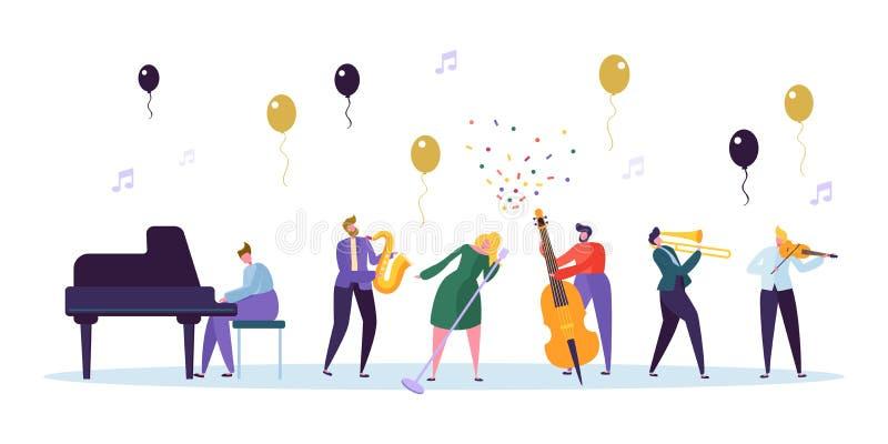 女歌手和爵士乐队音乐会图象 与乐器最低音萨克斯管钢琴小提琴的音乐家字符 库存例证