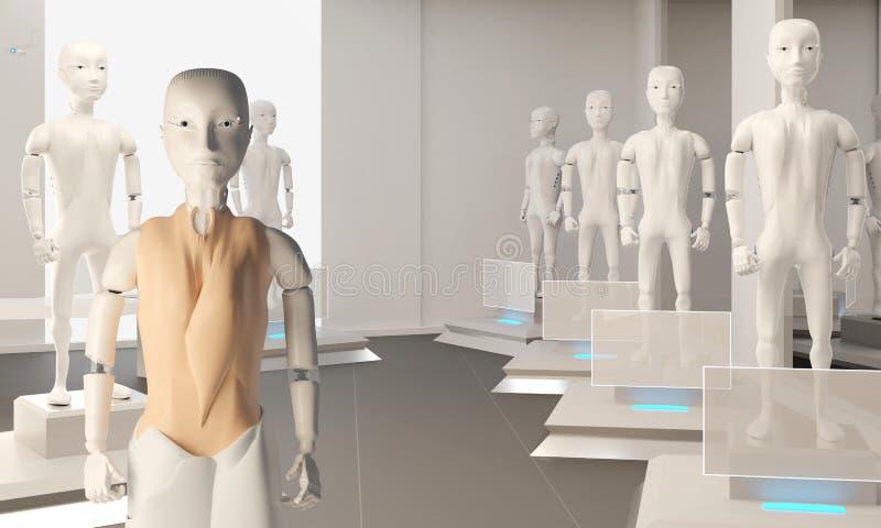 女推销员在自治人工智能机器人3d例证的商店 皇族释放例证