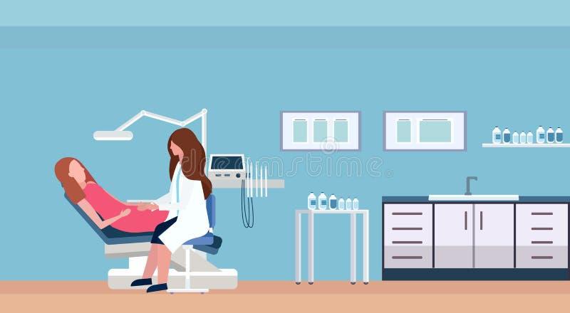 女性在牙科椅子专业牙齿办公室现代诊所内部的牙医医生审查的妇女患者 向量例证