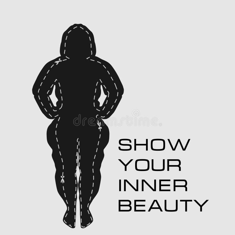 她可以通过做健身取得一个肥胖女孩和结果的剪影 向量例证