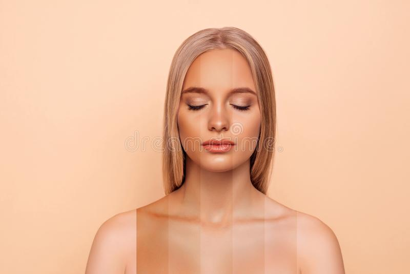 好可爱的白肤金发的赤裸裸体夫人特写镜头画象有不同纯净的完善的至善至美的光滑的软的亮光的皮肤的 库存照片