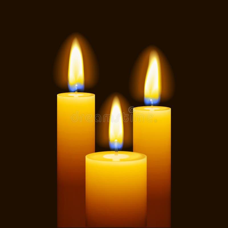 套三个灼烧的蜡烛 向量例证