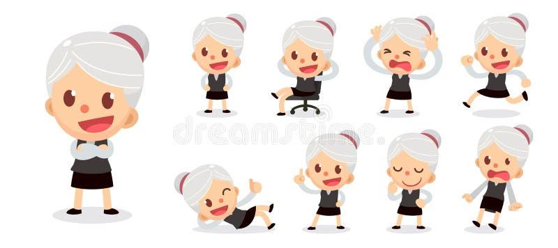 套在行动的微小的女实业家字符 有灰色头发的一名妇女 库存例证