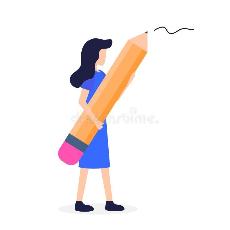 妇女举行大手中铅笔作家文具 向量例证
