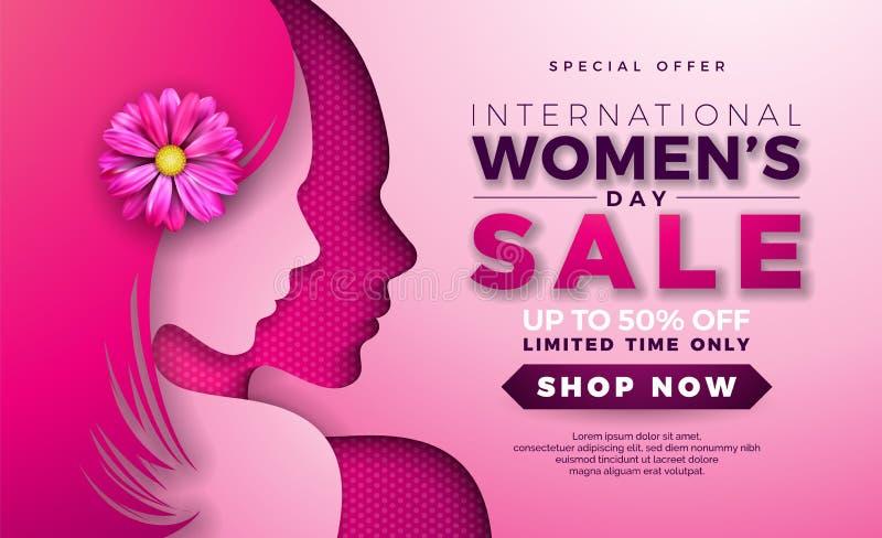 妇女天与美女面孔剪影和花的销售设计在桃红色背景 花卉例证向量 库存例证