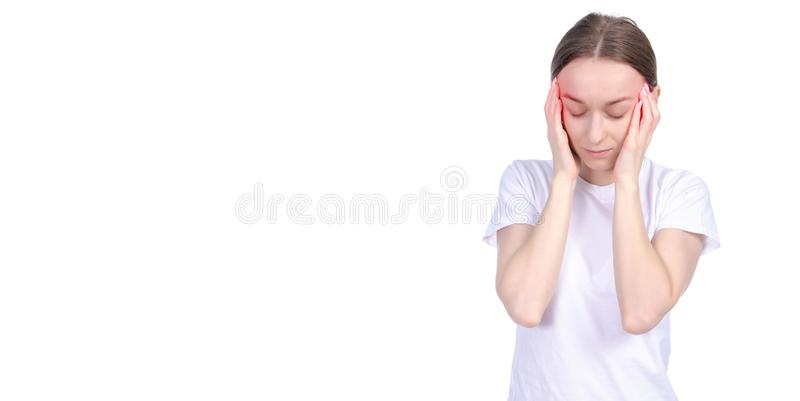 妇女头疼重音 免版税库存照片