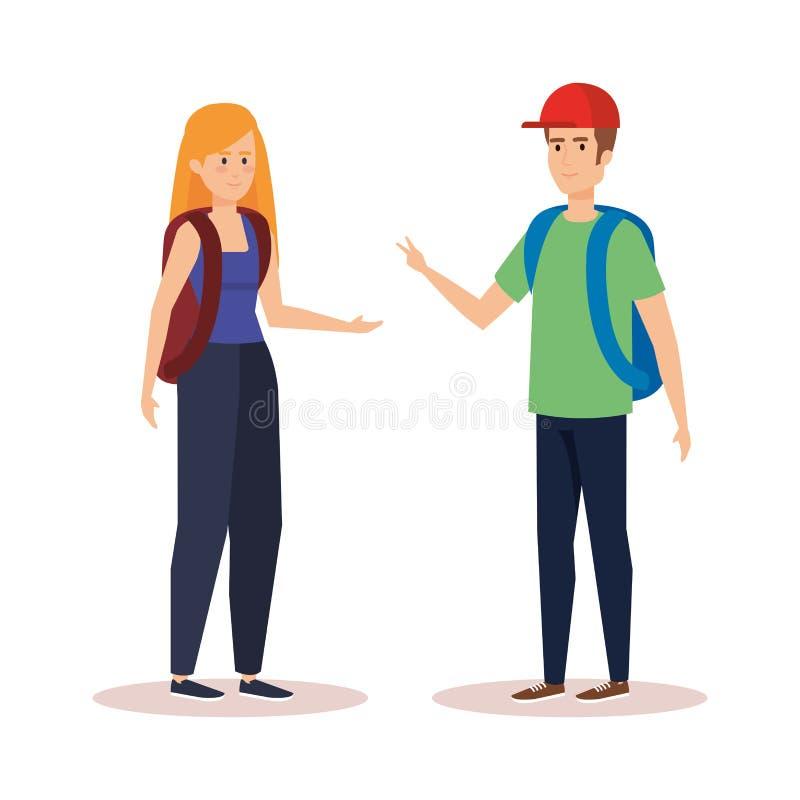 妇女和人学生谈话与背包 库存例证