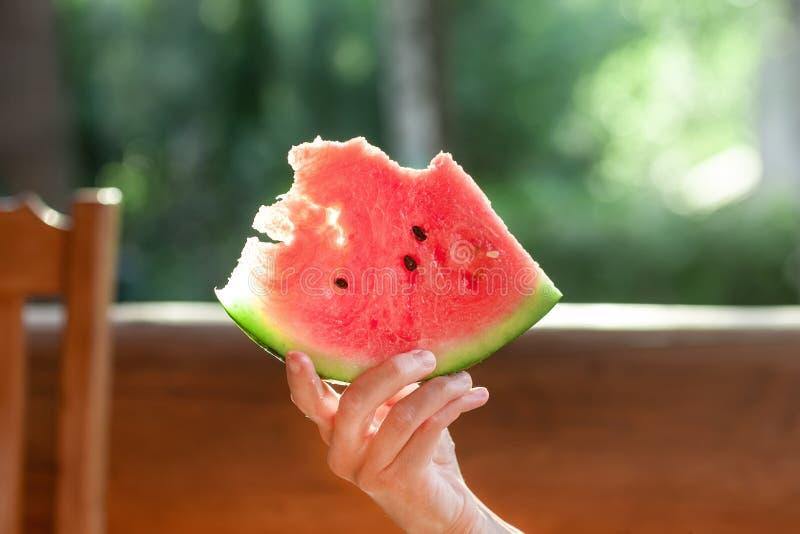 妇女新鲜的鲜美有机西瓜莓果藏品片断坐木大阳台 野餐的人室外与水多成熟 免版税库存图片