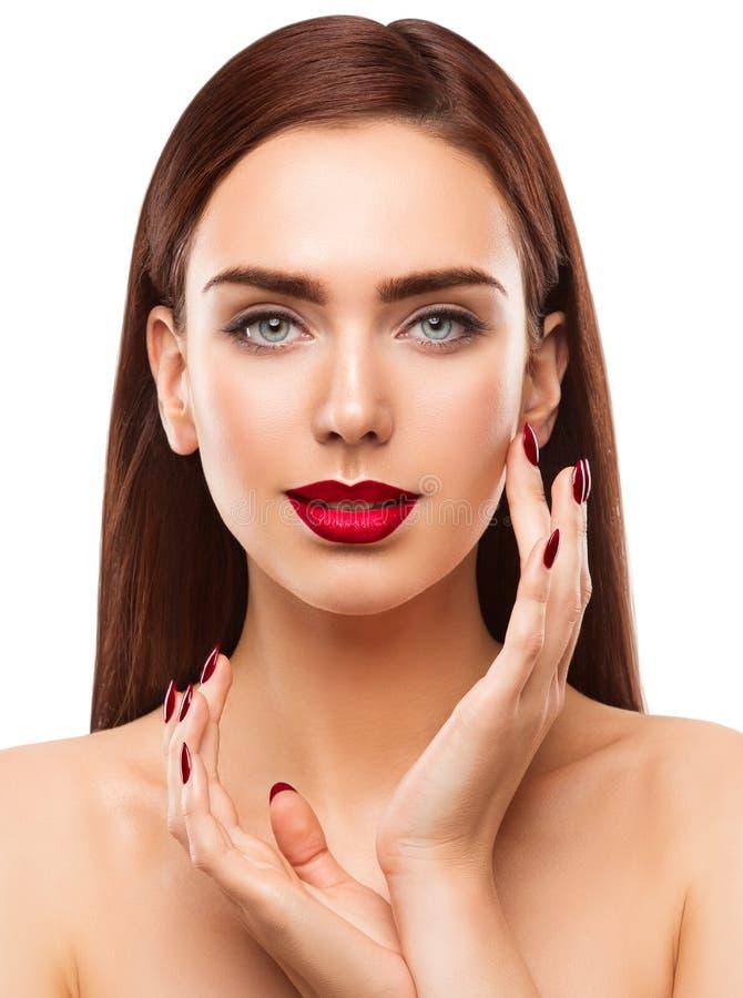妇女秀丽构成画象,脸蛋漂亮,眼睛嘴唇钉子 免版税库存图片