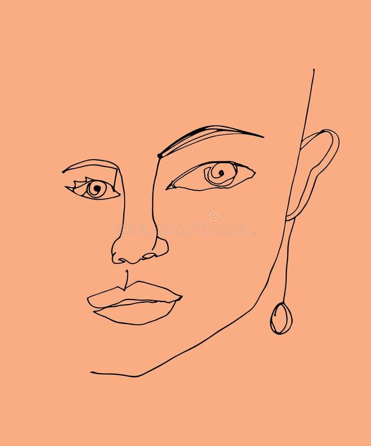 妇女面孔线性图画  一个实线得出的时尚例证 向量例证