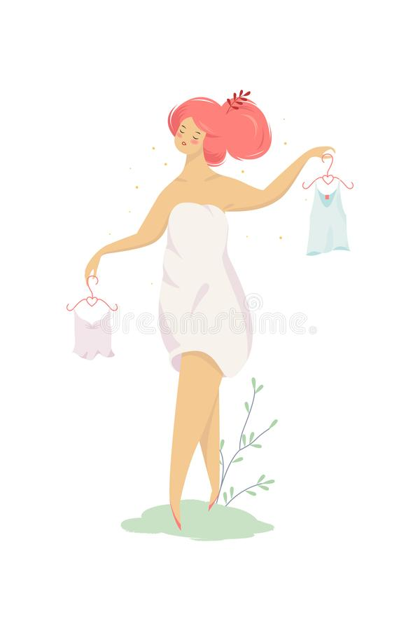 妇女选择衣裳 拿着挂衣架的女孩 库存例证