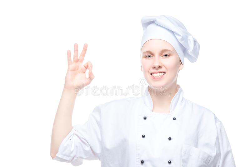 姿势示意在白色背景,所有ok姿态的厨师 库存照片