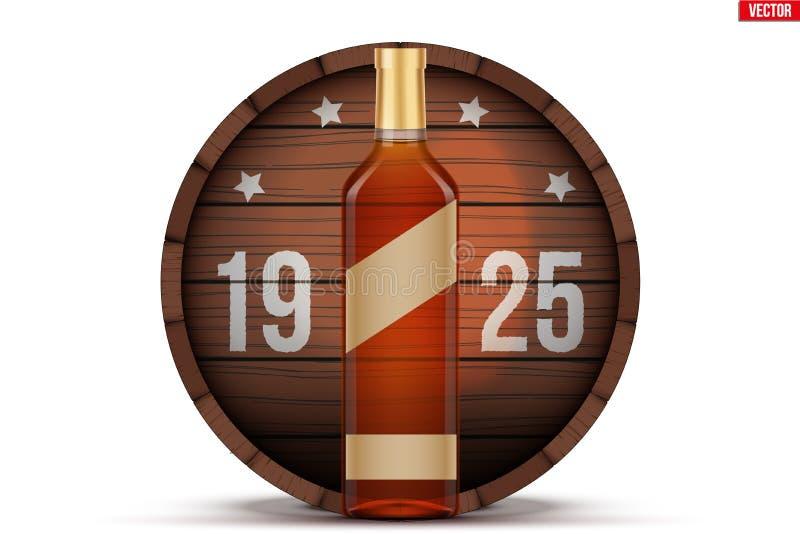 威士忌酒瓶和木桶 库存例证