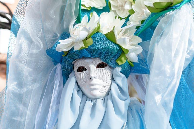 威尼斯,意大利,威尼斯狂欢节,在圣马可广场的美好的面具 库存照片