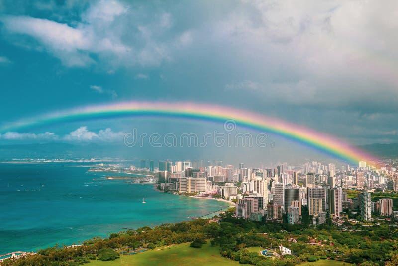 威基基看法从钻石头山的夏威夷的 免版税库存图片