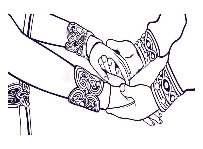 婚礼夫妇剪影 婚姻例证 与阿斯特丽德婚礼的打嗝声 向量例证
