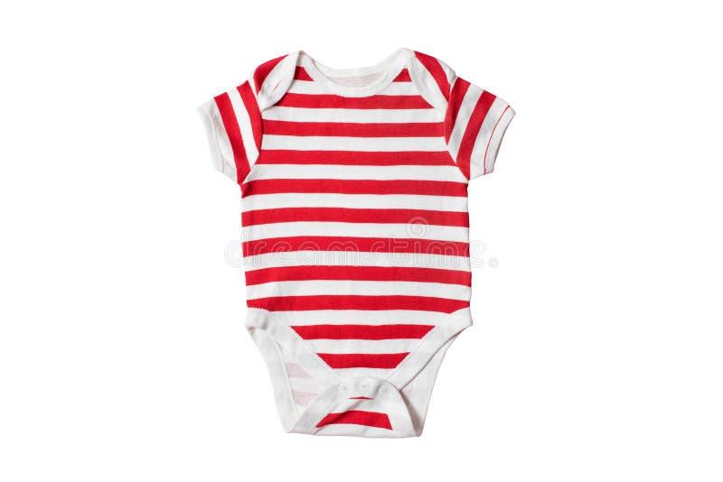 婴孩在白色背景的时尚概念 镶边紧身衣裤 孤立 免版税库存照片