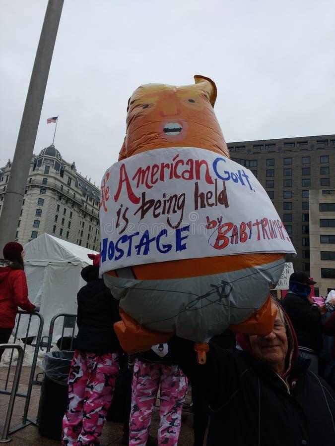 婴孩王牌气球,妇女3月,华盛顿特区,美国 图库摄影