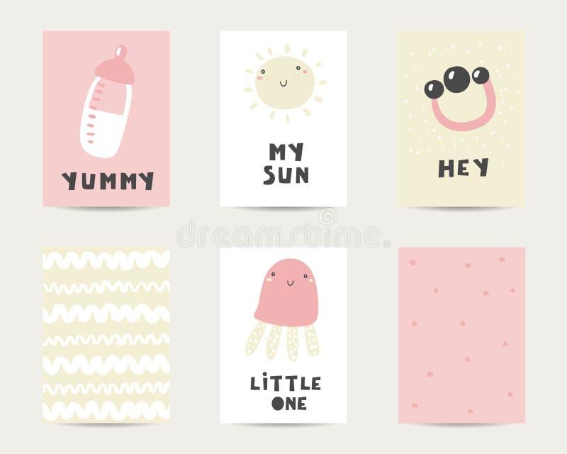 婴儿送礼会逗人喜爱的卡片,明信片,邀请,与牛奶瓶,太阳,松包,吵闹声的页 皇族释放例证