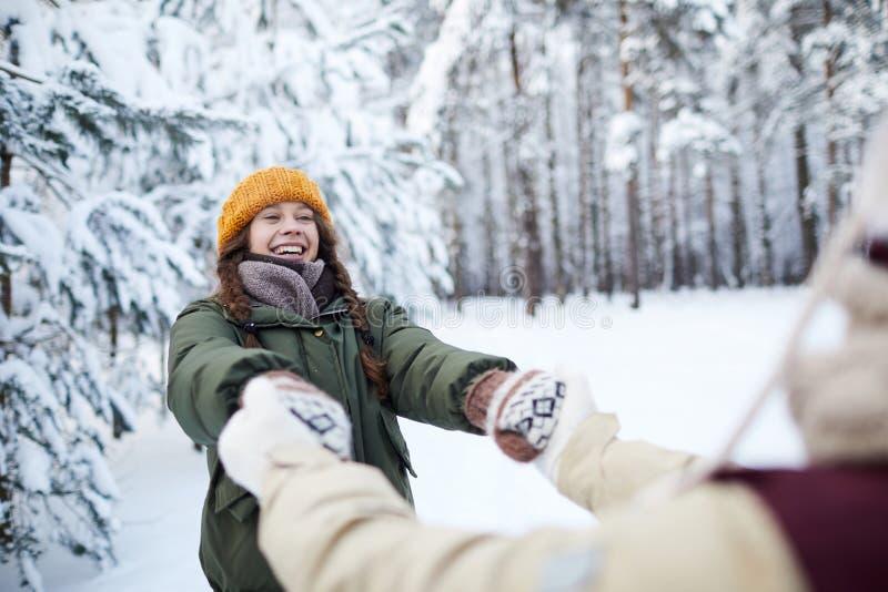 嬉戏的夫妇在冬天 库存图片
