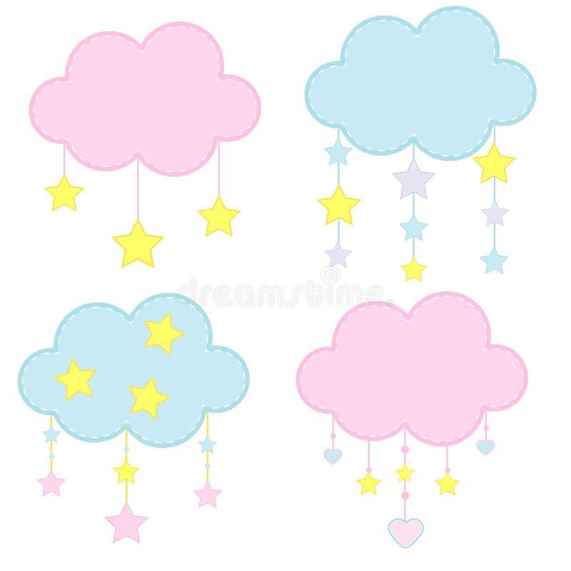 孩子的逗人喜爱的云彩 用垂悬的星装饰的婴儿送礼会云彩 婴儿推车玩具、孩子和小孩工艺,装饰 向量例证